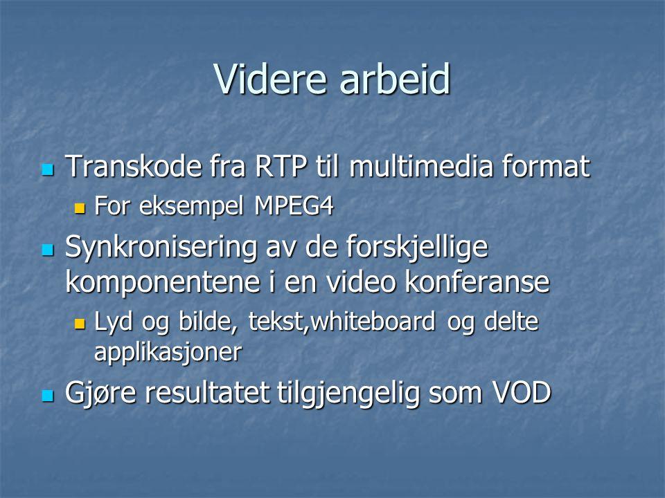 Videre arbeid Transkode fra RTP til multimedia format Transkode fra RTP til multimedia format For eksempel MPEG4 For eksempel MPEG4 Synkronisering av de forskjellige komponentene i en video konferanse Synkronisering av de forskjellige komponentene i en video konferanse Lyd og bilde, tekst,whiteboard og delte applikasjoner Lyd og bilde, tekst,whiteboard og delte applikasjoner Gjøre resultatet tilgjengelig som VOD Gjøre resultatet tilgjengelig som VOD