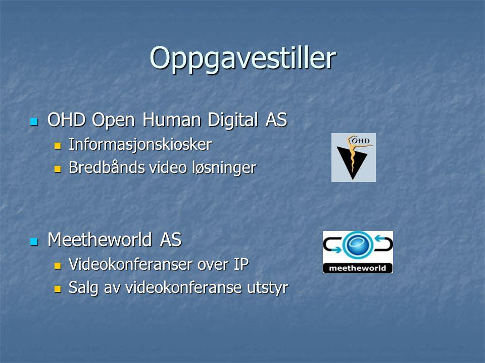 Oppgavestiller OHD Open Human Digital AS OHD Open Human Digital AS Informasjonskiosker Informasjonskiosker Bredbånds video løsninger Bredbånds video l