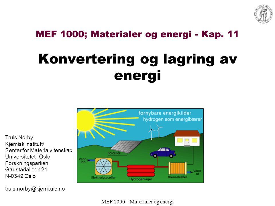 MEF 1000 – Materialer og energi Elektrolysører Reversert brenselcelle AFC og PEFC-deriverte typer mest utbredt Norsk Hydro Electrolyzers AS –AFC Bensinstasjoner med elektrolysør; fra elektrisitet til H 2 on-site –UiO/HiA: Nanokrystallinske NiP x, NiB x, NiS x for katoder i elektrolysører