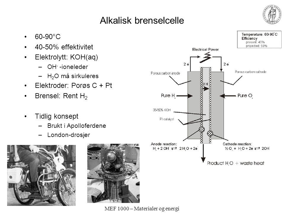 MEF 1000 – Materialer og energi Alkalisk brenselcelle 60-90°C 40-50% effektivitet Elektrolytt: KOH(aq) –OH - -ioneleder –H 2 O må sirkuleres Elektroder: Porøs C + Pt Brensel: Rent H 2 Tidlig konsept –Brukt i Apolloferdene –London-drosjer