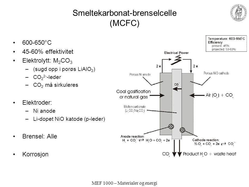MEF 1000 – Materialer og energi Smeltekarbonat-brenselcelle (MCFC) 600-650°C 45-60% effektivitet Elektrolytt: M 2 CO 3 –(sugd opp i porøs LiAlO 2 ) –CO 2 2- -leder –CO 2 må sirkuleres Elektroder: –Ni anode –Li-dopet NiO katode (p-leder) Brensel: Alle Korrosjon