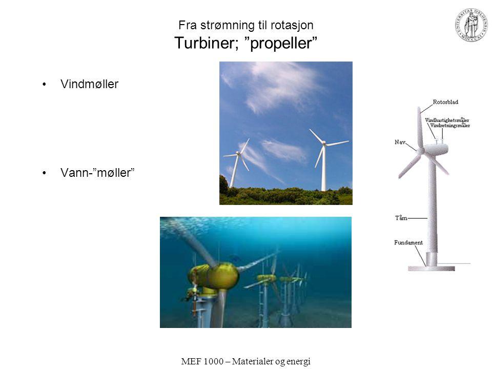 MEF 1000 – Materialer og energi Fra strømning til rotasjon Turbiner for vannkraftverk Fristråleturbin Store fallhøyder Fullturbin –Skovler – Propell Liten fallhøyde, stor vannføring