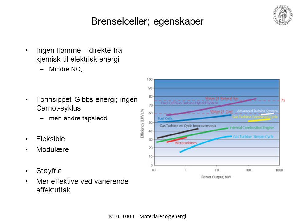 Brenselceller; egenskaper Ingen flamme – direkte fra kjemisk til elektrisk energi –Mindre NO x I prinsippet Gibbs energi; ingen Carnot-syklus –men andre tapsledd Fleksible Modulære Støyfrie Mer effektive ved varierende effektuttak