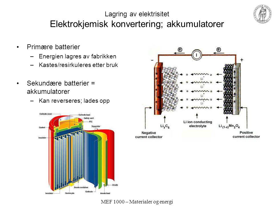 MEF 1000 – Materialer og energi Lagring av elektrisitet Elektrokjemisk konvertering; akkumulatorer Primære batterier –Energien lagres av fabrikken –Kastes/resirkuleres etter bruk Sekundære batterier = akkumulatorer –Kan reverseres; lades opp