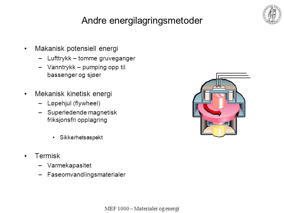 MEF 1000 – Materialer og energi Andre energilagringsmetoder Makanisk potensiell energi –Lufttrykk – tomme gruveganger –Vanntrykk – pumping opp til bassenger og sjøer Mekanisk kinetisk energi –Løpehjul (flywheel) –Superledende magnetisk friksjonsfri opplagring Sikkerhetsaspekt Termisk –Varmekapasitet –Faseomvandlingsmaterialer