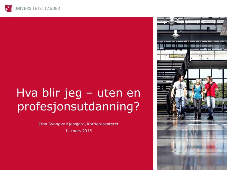 Hva blir jeg – uten en profesjonsutdanning Erna Synnøve Kjensjord, Karrieresenteret 11.mars 2015