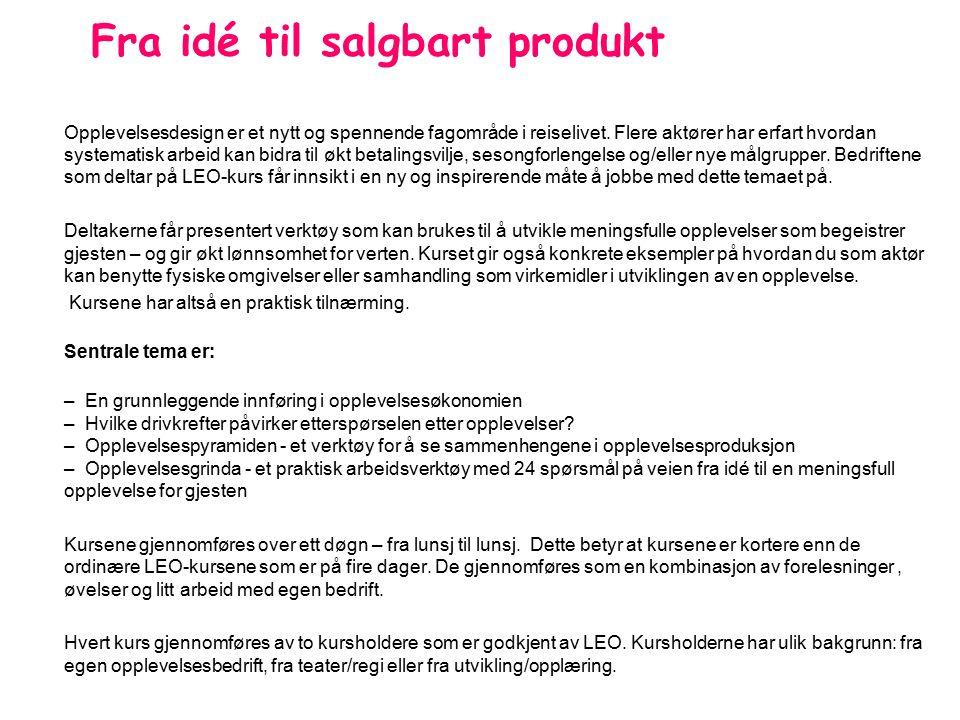 Fra idé til salgbart produkt Foredragsholdere; Torill Olsson.