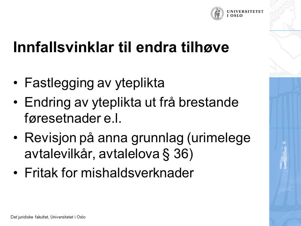 Det juridiske fakultet, Universitetet i Oslo Innfallsvinklar til endra tilhøve Fastlegging av yteplikta Endring av yteplikta ut frå brestande føresetnader e.l.