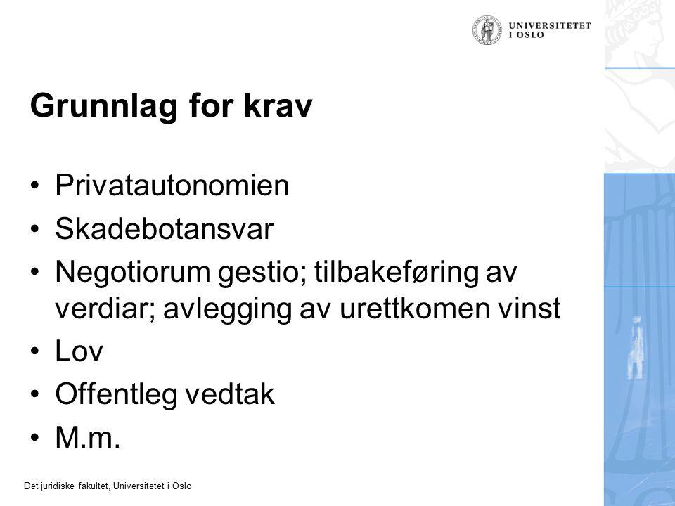 Det juridiske fakultet, Universitetet i Oslo Emnet Mest om gjensidige yteplikter bygde på avtale (kontraktsrett) Særleg om plikt til å betale pengar