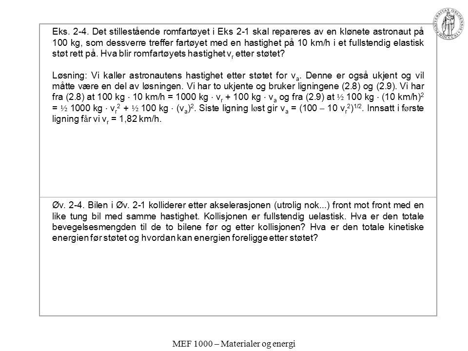 MEF 1000 – Materialer og energi Eks. 2-4. Det stillestående romfartøyet i Eks 2-1 skal repareres av en klønete astronaut på 100 kg, som dessverre tref