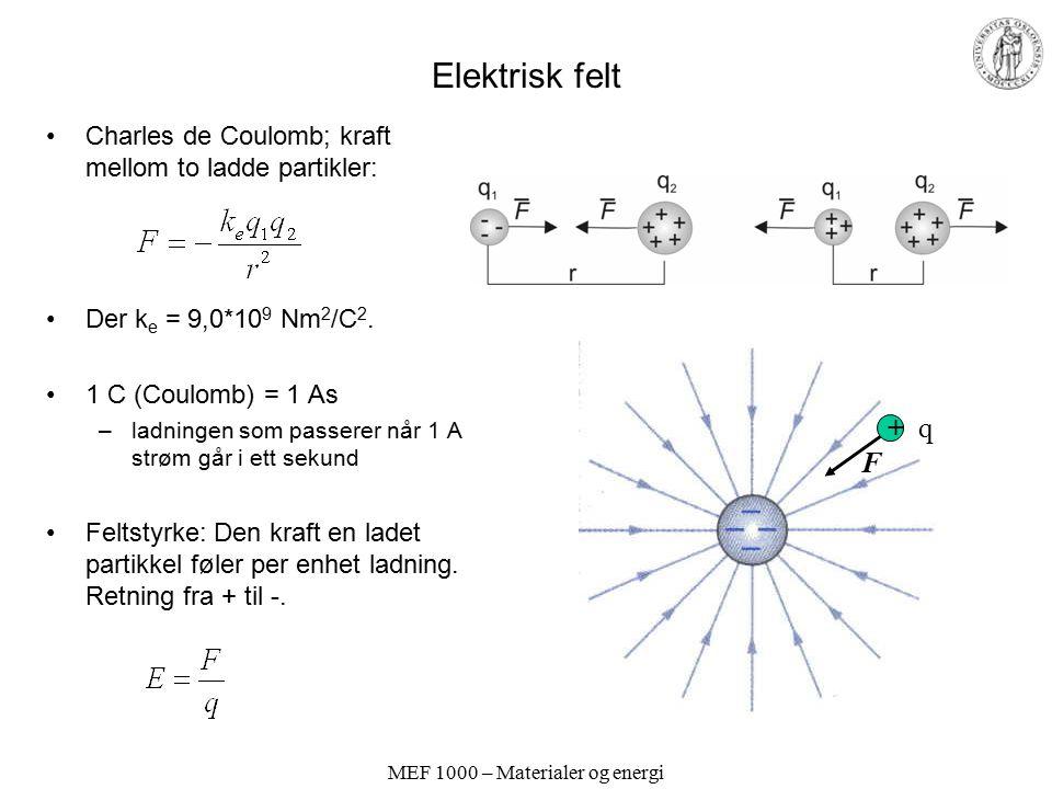 MEF 1000 – Materialer og energi Elektrisk felt Charles de Coulomb; kraft mellom to ladde partikler: Der k e = 9,0*10 9 Nm 2 /C 2. 1 C (Coulomb) = 1 As
