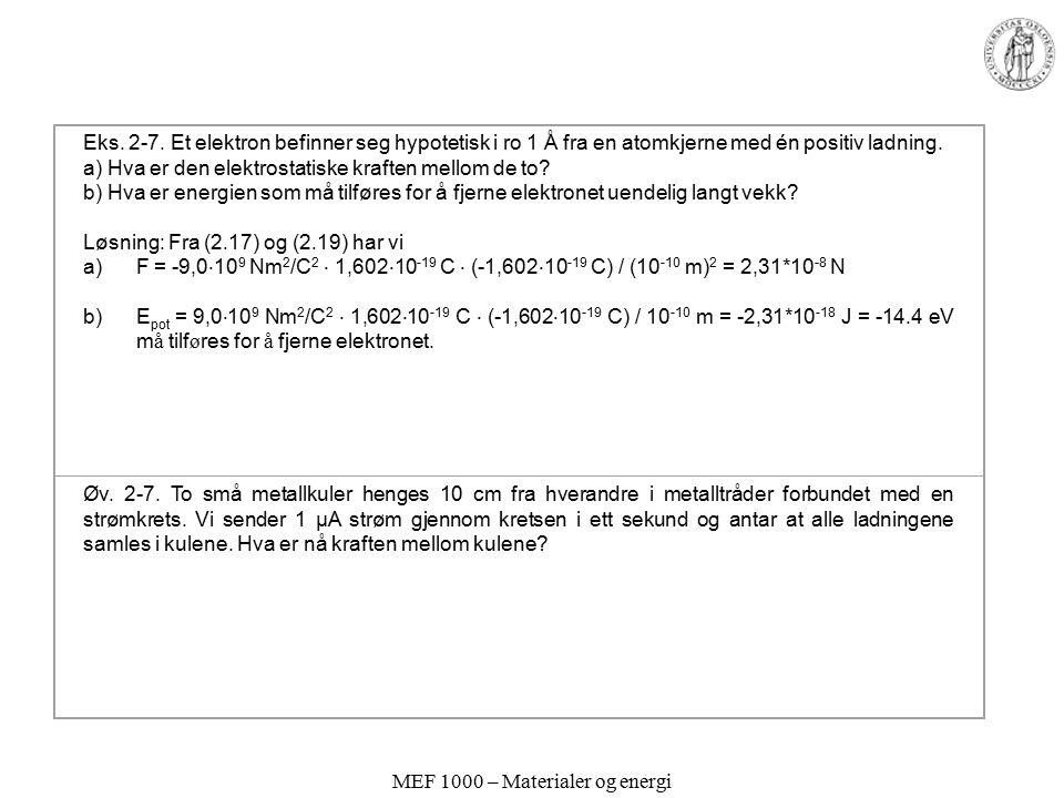 MEF 1000 – Materialer og energi Eks. 2-7. Et elektron befinner seg hypotetisk i ro 1 Å fra en atomkjerne med én positiv ladning. a) Hva er den elektro