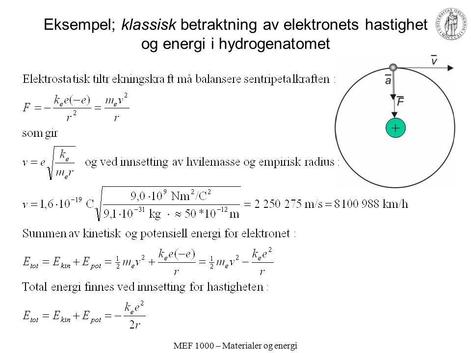 MEF 1000 – Materialer og energi Eksempel; klassisk betraktning av elektronets hastighet og energi i hydrogenatomet +