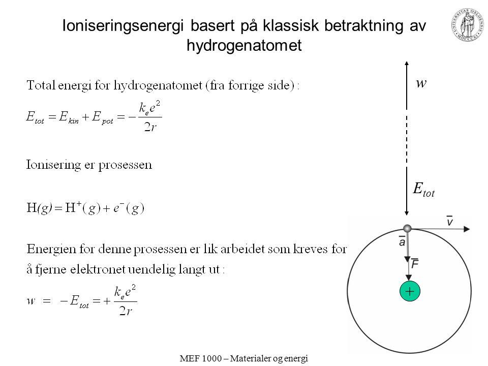 MEF 1000 – Materialer og energi Ioniseringsenergi basert på klassisk betraktning av hydrogenatomet + E tot w