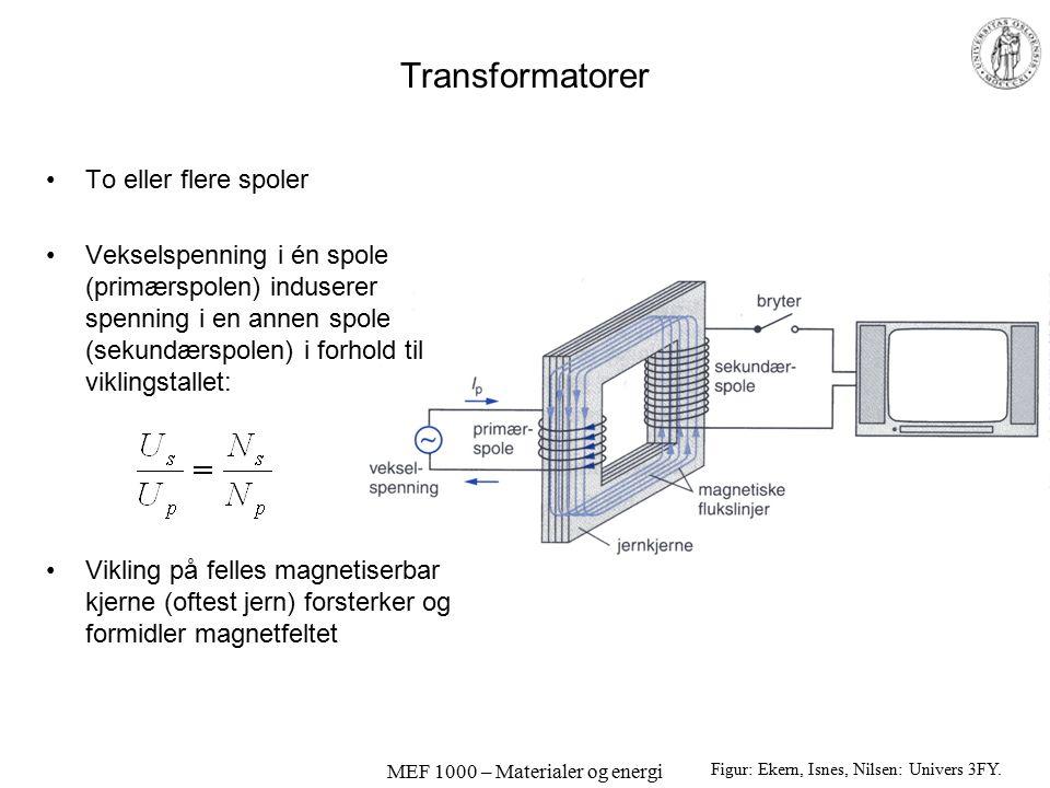 MEF 1000 – Materialer og energi Transformatorer To eller flere spoler Vekselspenning i én spole (primærspolen) induserer spenning i en annen spole (se