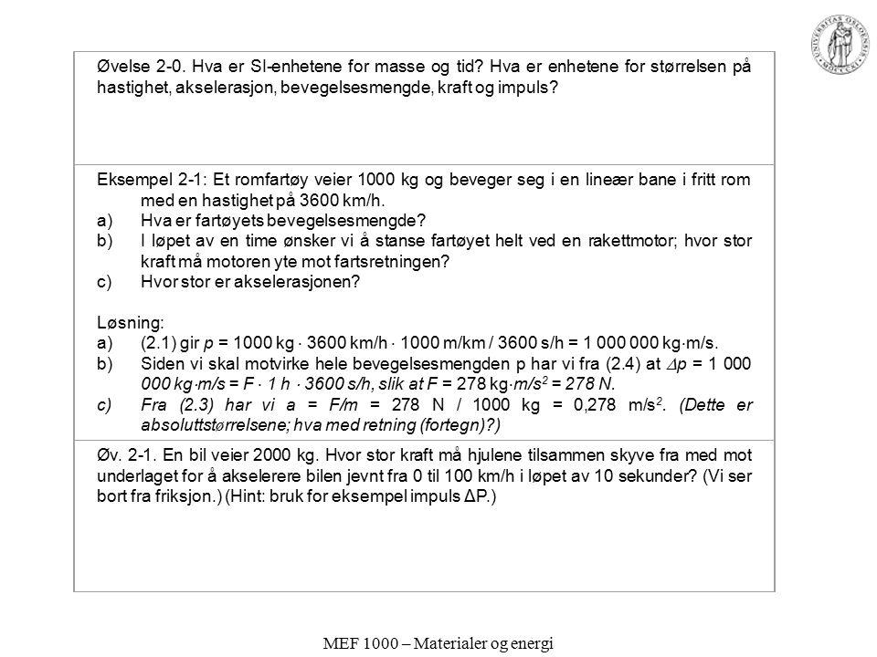 MEF 1000 – Materialer og energi Øvelse 2-0. Hva er SI-enhetene for masse og tid? Hva er enhetene for størrelsen på hastighet, akselerasjon, bevegelses