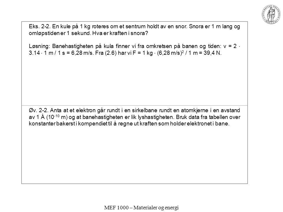MEF 1000 – Materialer og energi Eks. 2-2. En kule på 1 kg roteres om et sentrum holdt av en snor. Snora er 1 m lang og omløpstiden er 1 sekund. Hva er