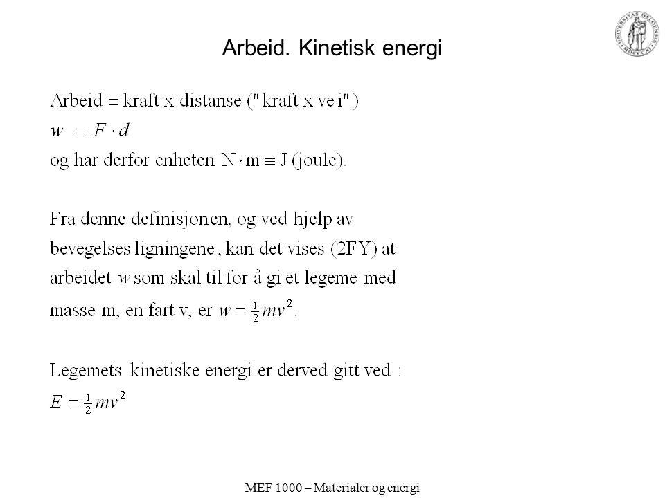 MEF 1000 – Materialer og energi Arbeid. Kinetisk energi