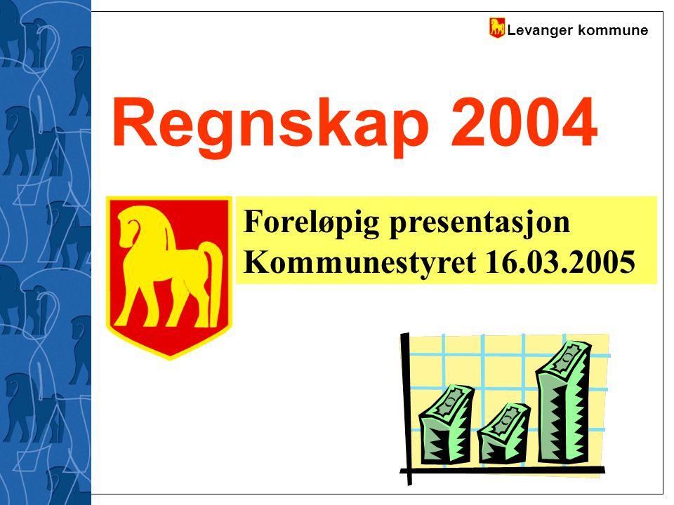 Levanger kommune Regnskap 2004 Foreløpig presentasjon Kommunestyret 16.03.2005