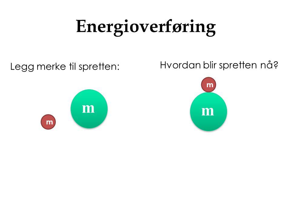Energioverføring Legg merke til spretten: Hvordan blir spretten nå? m m m m