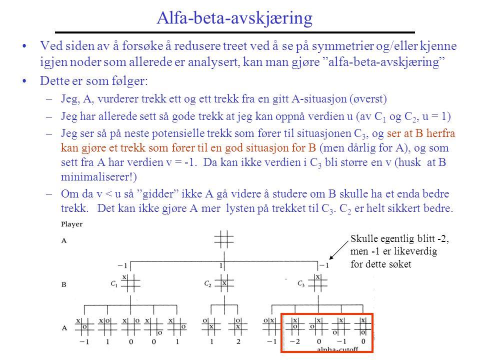 Eksempler på alfa-beta-avskjæring Avskjæring som gjøres ut fra A's betrakning kalles alfa-avskjæring Samme betrakning som gjøres fra B- tilstander, men med mimimalisering.