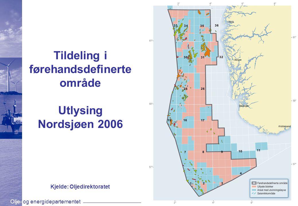 Olje- og energidepartementetwww.oed.dep.no Tildeling i førehandsdefinerte område Utlysing Nordsjøen 2006 Kjelde: Oljedirektoratet