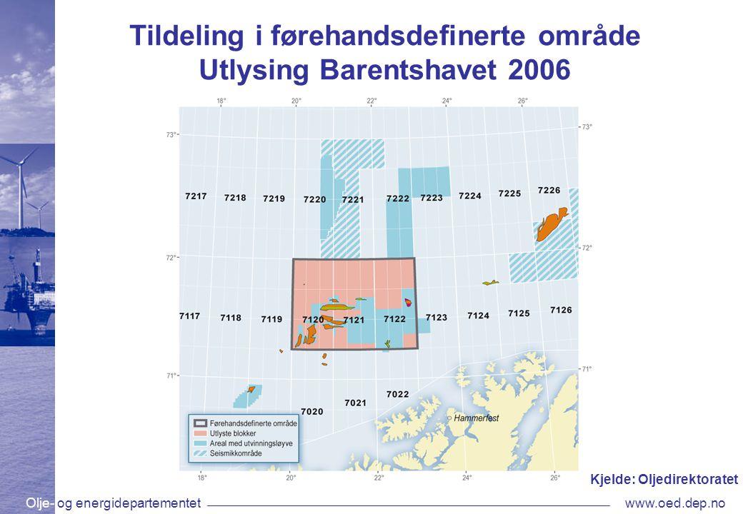 Olje- og energidepartementetwww.oed.dep.no Tildeling i førehandsdefinerte område Utlysing Barentshavet 2006 Kjelde: Oljedirektoratet
