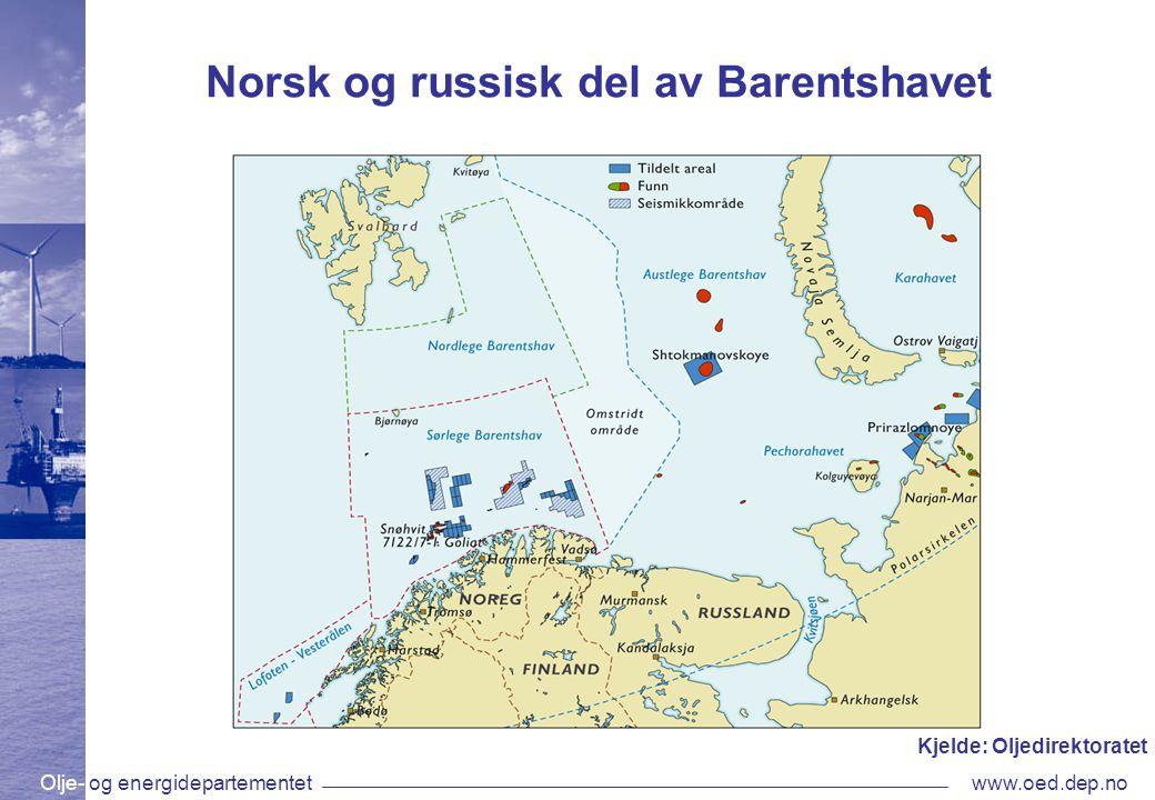 Olje- og energidepartementetwww.oed.dep.no Norsk og russisk del av Barentshavet Kjelde: Oljedirektoratet