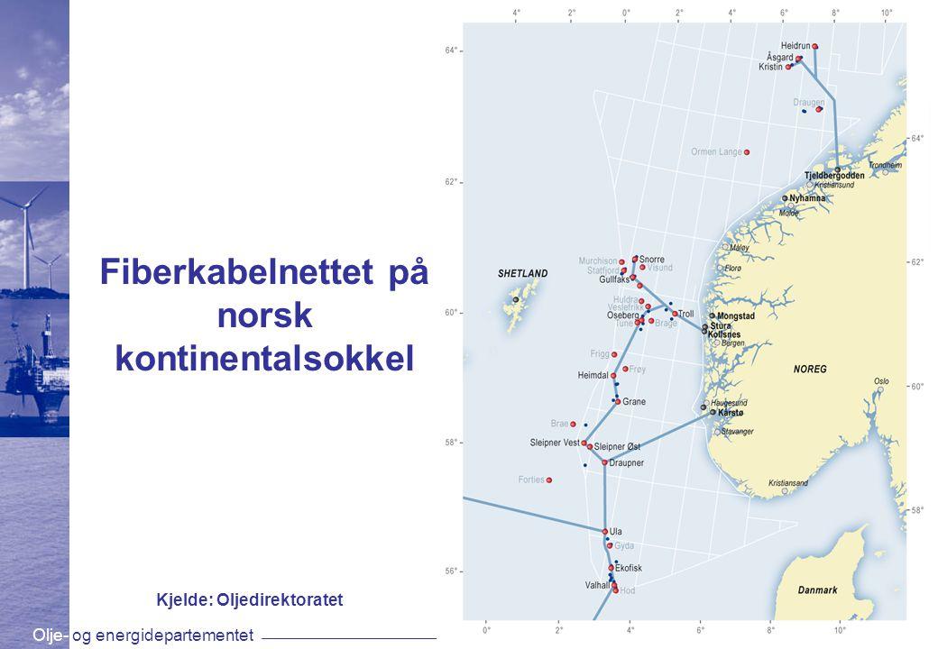 Olje- og energidepartementetwww.oed.dep.no Fiberkabelnettet på norsk kontinentalsokkel Kjelde: Oljedirektoratet