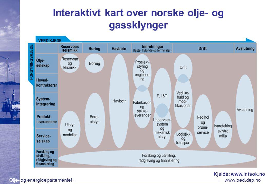 Olje- og energidepartementetwww.oed.dep.no Interaktivt kart over norske olje- og gassklynger Kjelde: www.intsok.no