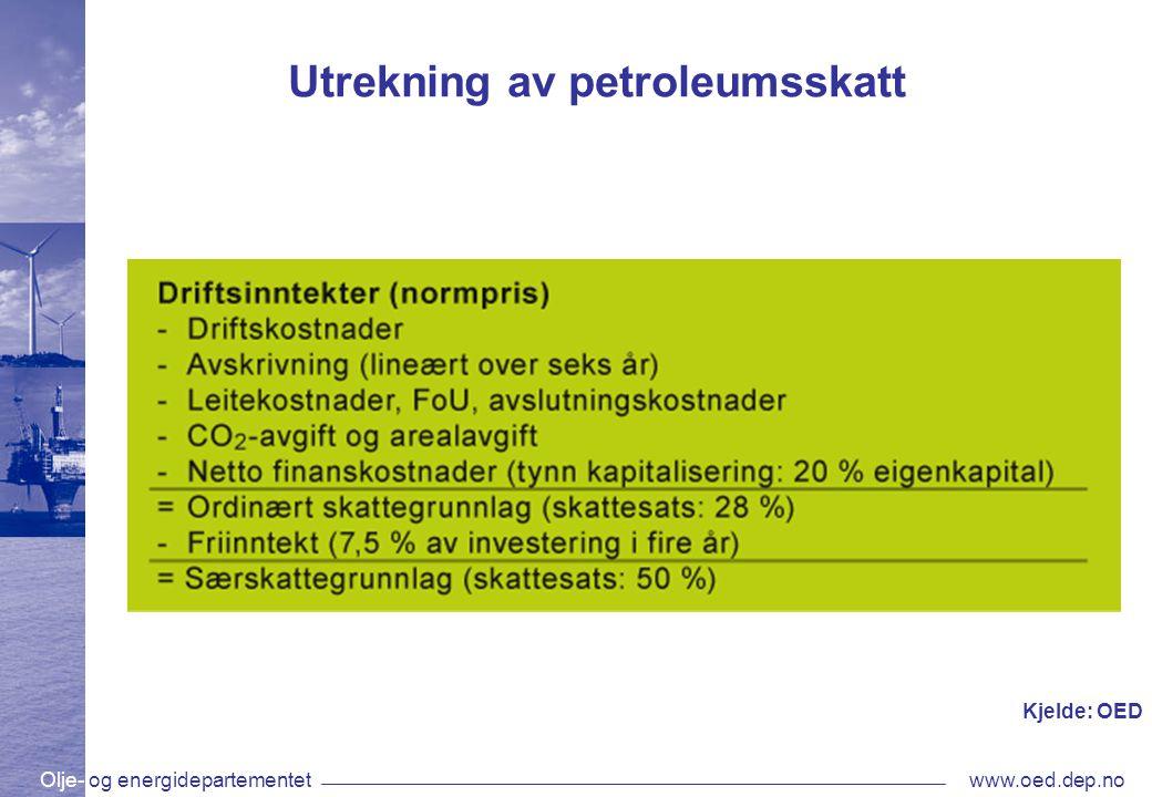 Olje- og energidepartementetwww.oed.dep.no Utrekning av petroleumsskatt Kjelde: OED