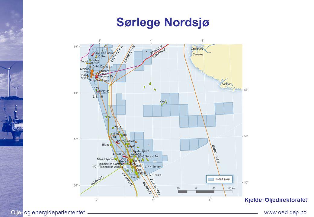 Olje- og energidepartementetwww.oed.dep.no Sørlege Nordsjø Kjelde: Oljedirektoratet
