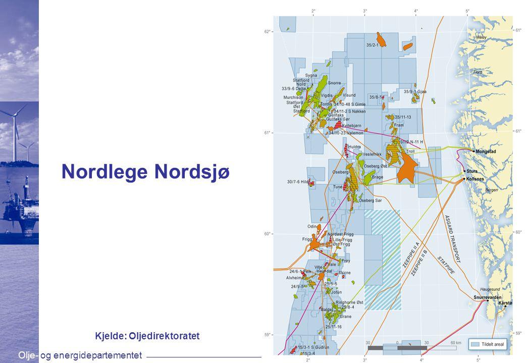 Olje- og energidepartementetwww.oed.dep.no Nordlege Nordsjø Kjelde: Oljedirektoratet
