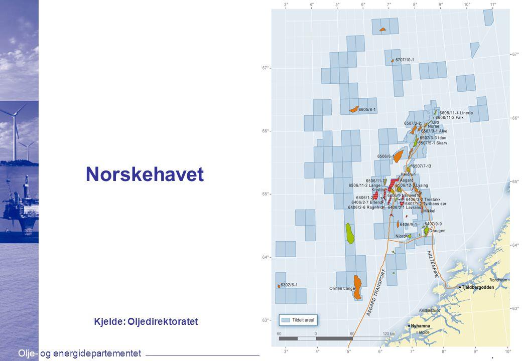 Olje- og energidepartementetwww.oed.dep.no Norskehavet Kjelde: Oljedirektoratet