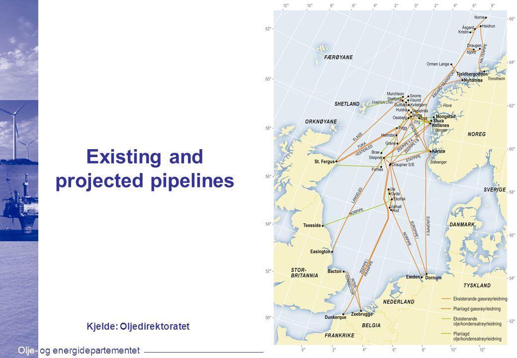 Olje- og energidepartementetwww.oed.dep.no Existing and projected pipelines Kjelde: Oljedirektoratet