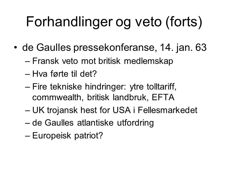 Forhandlinger og veto (forts) de Gaulles pressekonferanse, 14.