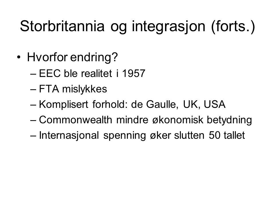 Storbritannia og integrasjon (forts.) Hvorfor endring? –EEC ble realitet i 1957 –FTA mislykkes –Komplisert forhold: de Gaulle, UK, USA –Commonwealth m
