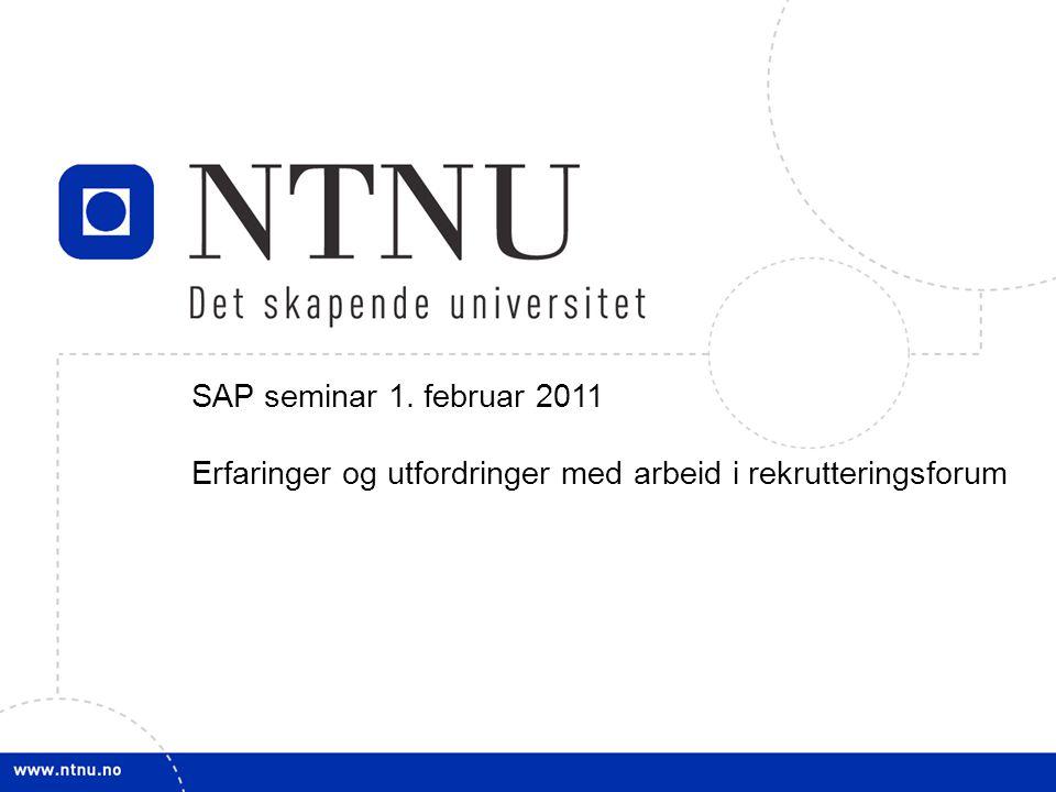 1 SAP seminar 1. februar 2011 Erfaringer og utfordringer med arbeid i rekrutteringsforum
