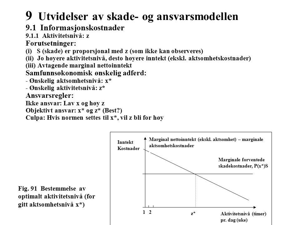 9 Utvidelser av skade- og ansvarsmodellen 9.1 Informasjonskostnader 9.1.1 Aktivitetsnivå: z Forutsetninger: (i) S (skade) er proporsjonal med z (som ikke kan observeres) (ii) Jo høyere aktivitetsnivå, desto høyere inntekt (ekskl.