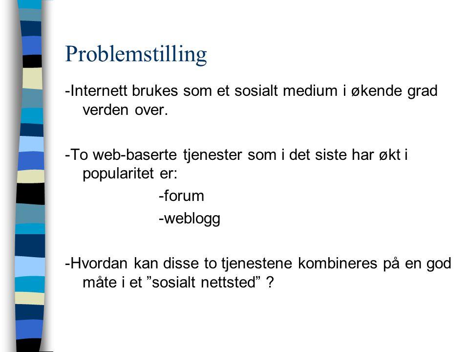 Problemstilling -Internett brukes som et sosialt medium i økende grad verden over.
