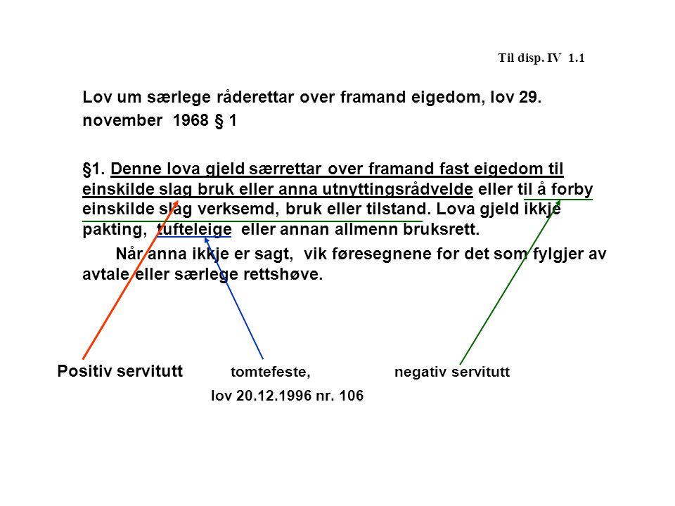 Til disp. IV 1.1 Lov um særlege råderettar over framand eigedom, lov 29. november 1968 § 1 §1. Denne lova gjeld særrettar over framand fast eigedom ti