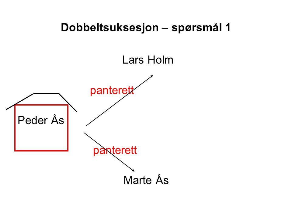 Dobbeltsuksesjon – spørsmål 1 Lars Holm panterett Peder Ås panterett Marte Ås