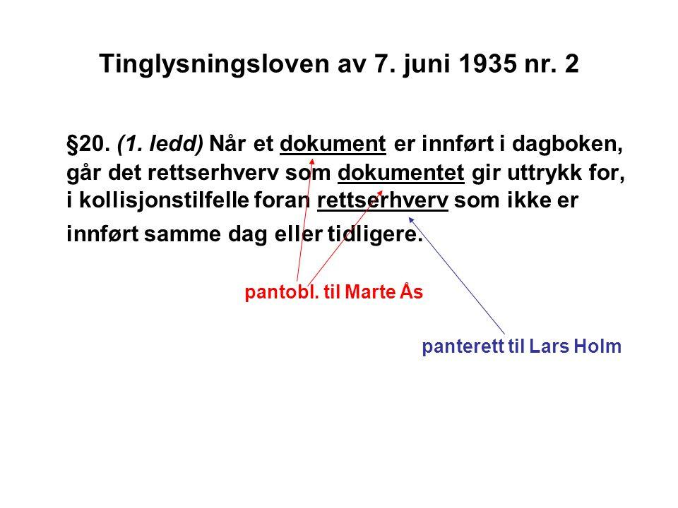 Tinglysningsloven av 7. juni 1935 nr. 2 §20. (1. ledd) Når et dokument er innført i dagboken, går det rettserhverv som dokumentet gir uttrykk for, i k