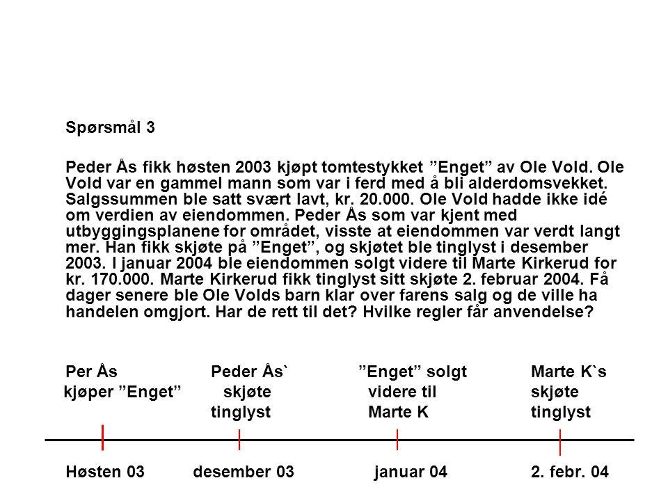 """Spørsmål 3 Peder Ås fikk høsten 2003 kjøpt tomtestykket """"Enget"""" av Ole Vold. Ole Vold var en gammel mann som var i ferd med å bli alderdomsvekket. Sal"""
