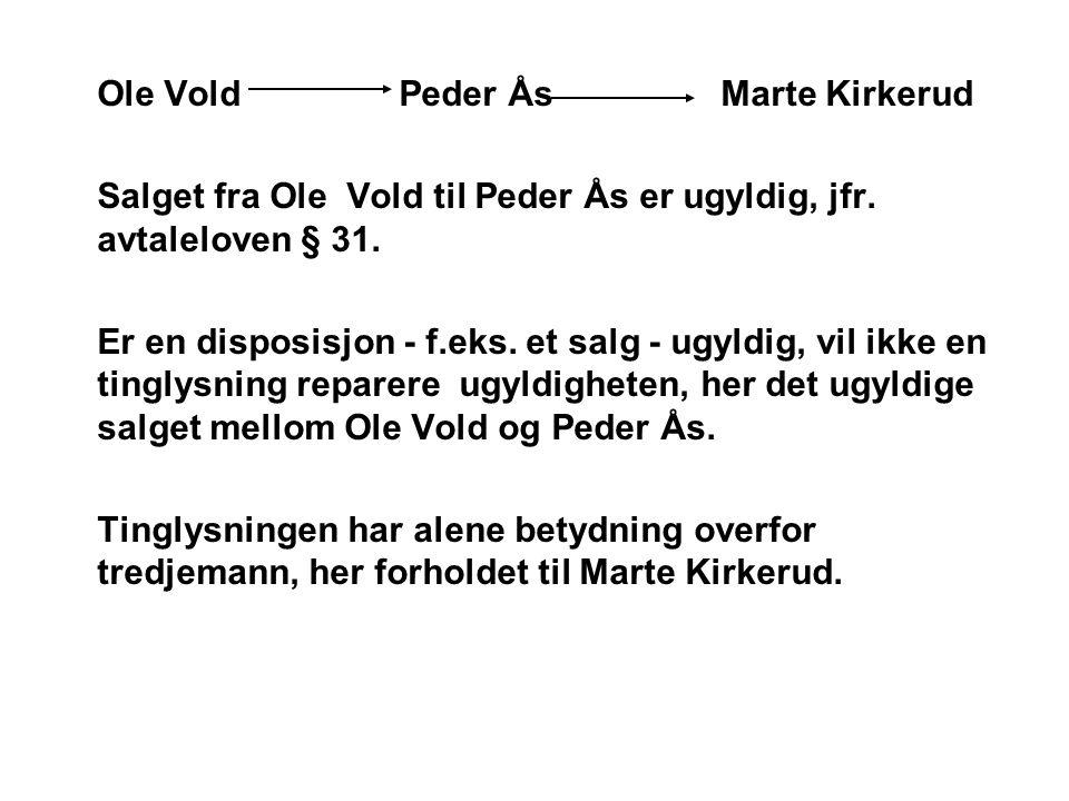 Ole Vold Peder Ås Marte Kirkerud Salget fra Ole Vold til Peder Ås er ugyldig, jfr. avtaleloven § 31. Er en disposisjon - f.eks. et salg - ugyldig, vil