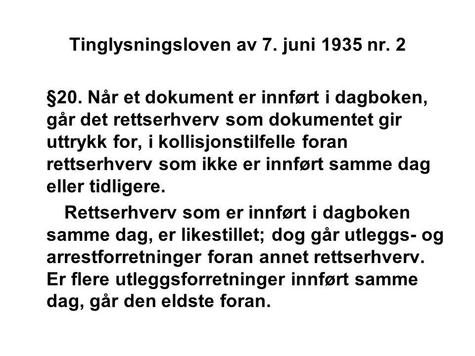 Tinglysningsloven av 7. juni 1935 nr. 2 §20. Når et dokument er innført i dagboken, går det rettserhverv som dokumentet gir uttrykk for, i kollisjonst