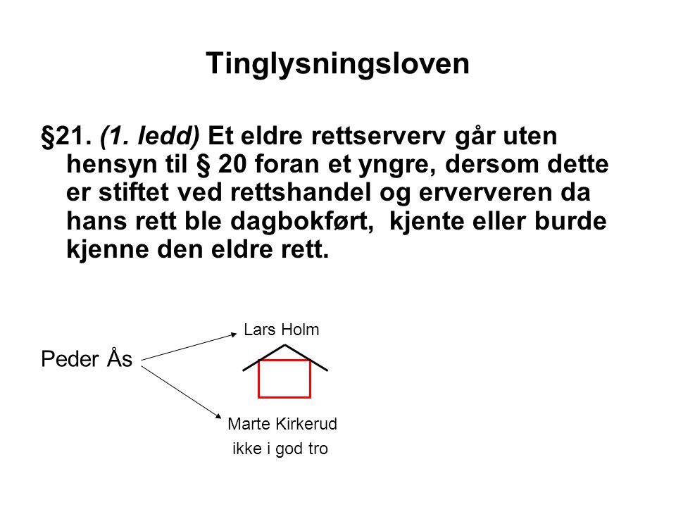 Tinglysningsloven §21. (1. ledd) Et eldre rettserverv går uten hensyn til § 20 foran et yngre, dersom dette er stiftet ved rettshandel og erververen d