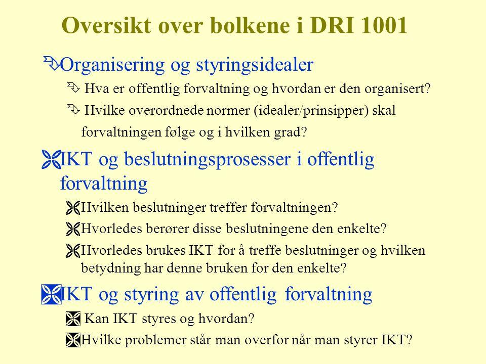 Oversikt over bolkene i DRI 1001 ÊOrganisering og styringsidealer Ê Hva er offentlig forvaltning og hvordan er den organisert.