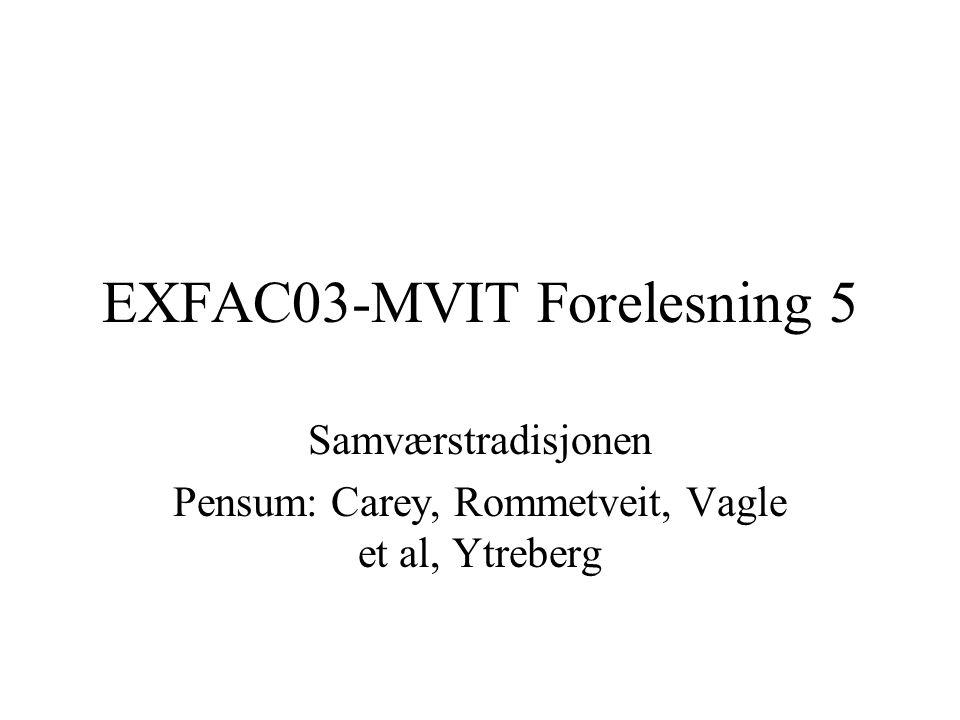 EXFAC03-MVIT Forelesning 5 Samværstradisjonen Pensum: Carey, Rommetveit, Vagle et al, Ytreberg