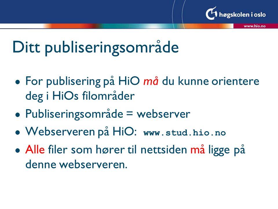 Ditt publiseringsområde l For publisering på HiO må du kunne orientere deg i HiOs filområder l Publiseringsområde = webserver Webserveren på HiO: www.stud.hio.no l Alle filer som hører til nettsiden må ligge på denne webserveren.